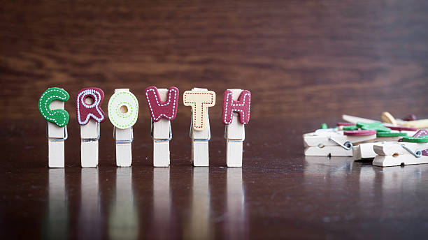 GROWTH word on clothes peg stick Common business terms - Slightly defocused and close-up of GROWTH word on clothes peg stick with lots of clothes peg at background aggrandize stock pictures, royalty-free photos & images