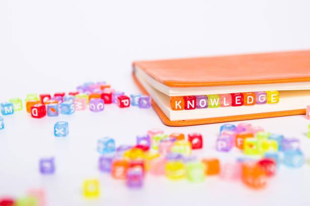 wissen wort flugel bunte perlen als lesezeichen im buch. bildung und wissen-konzept - geführtes lesen stock-fotos und bilder