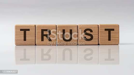 939533958 istock photo TRUST word on cubes on a grey white glossy background with reflection. Business concept. 1223905307