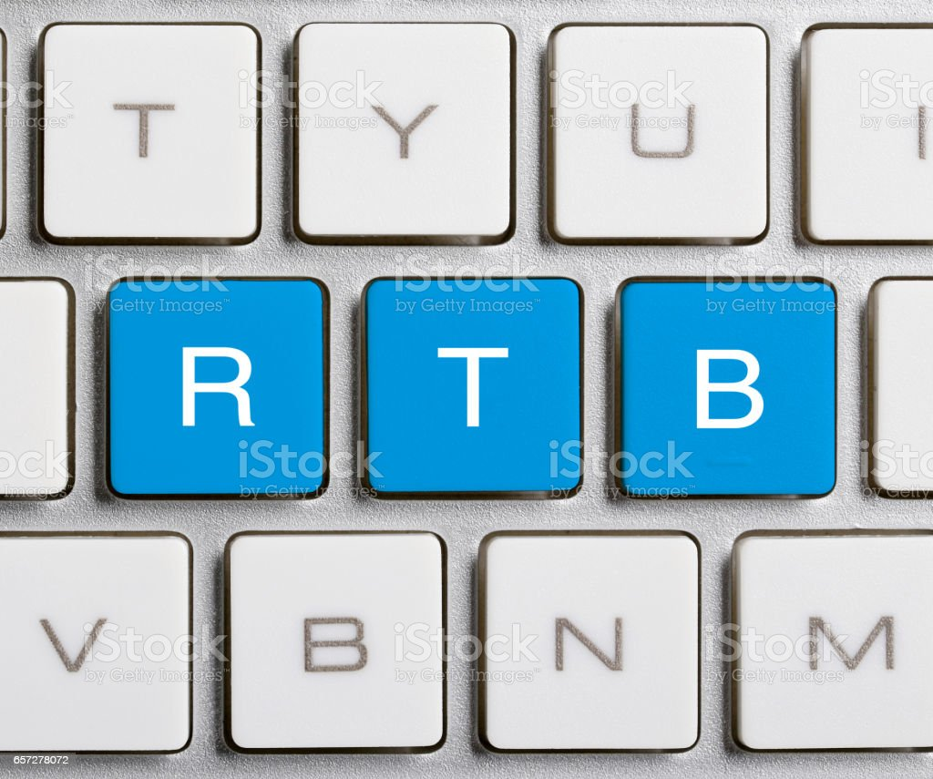 RTB Word On Keyboard Button stock photo
