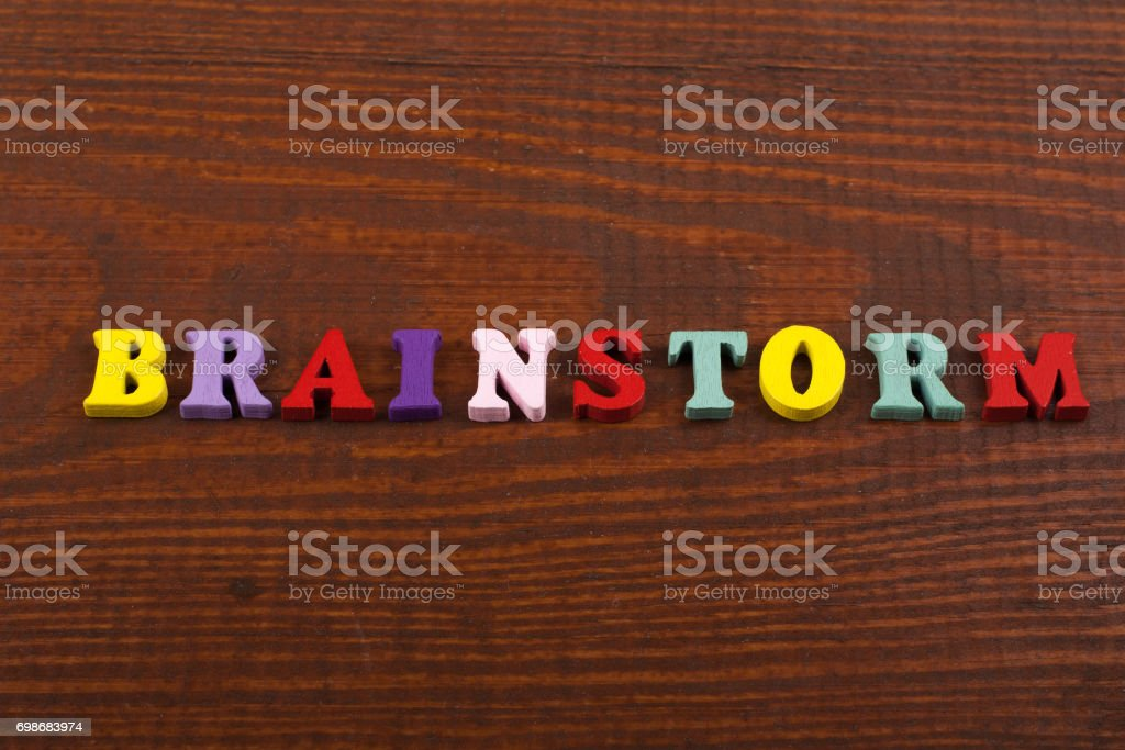 BRAINSTORMING word on wooden background composed from colorful abc alphabet block wooden letters, copy space for ad text. Learning english concept stock photo