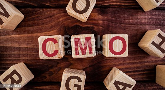 CMO (Chief Marketing Officer) word on wooden cubes on a dark wood background. Business Concept image.