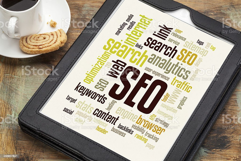 SEO word or tag cloud stock photo