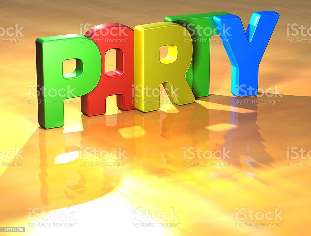 Word Party on yellow background royalty-free stock photo