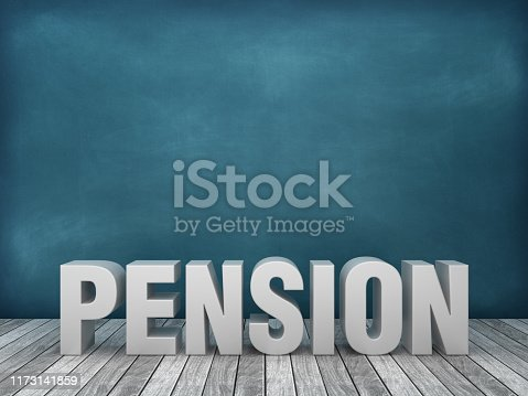 3D Word PENSION on Chalkboard Background - 3D Rendering