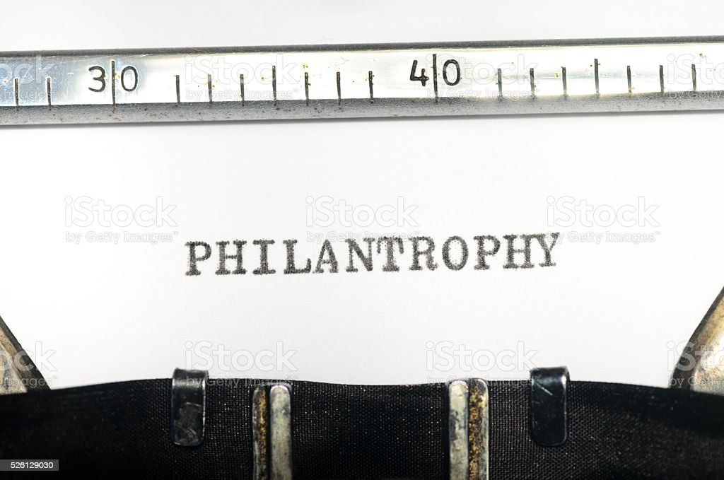 word philantropy typed on  typewriter stock photo