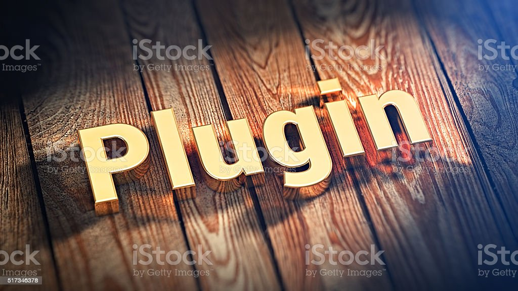 Word Plugin on wood planks stock photo