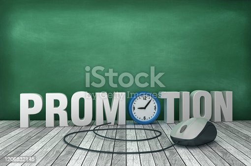 3D Word PROMOTION with Clock on Chalkboard Background - 3D Rendering