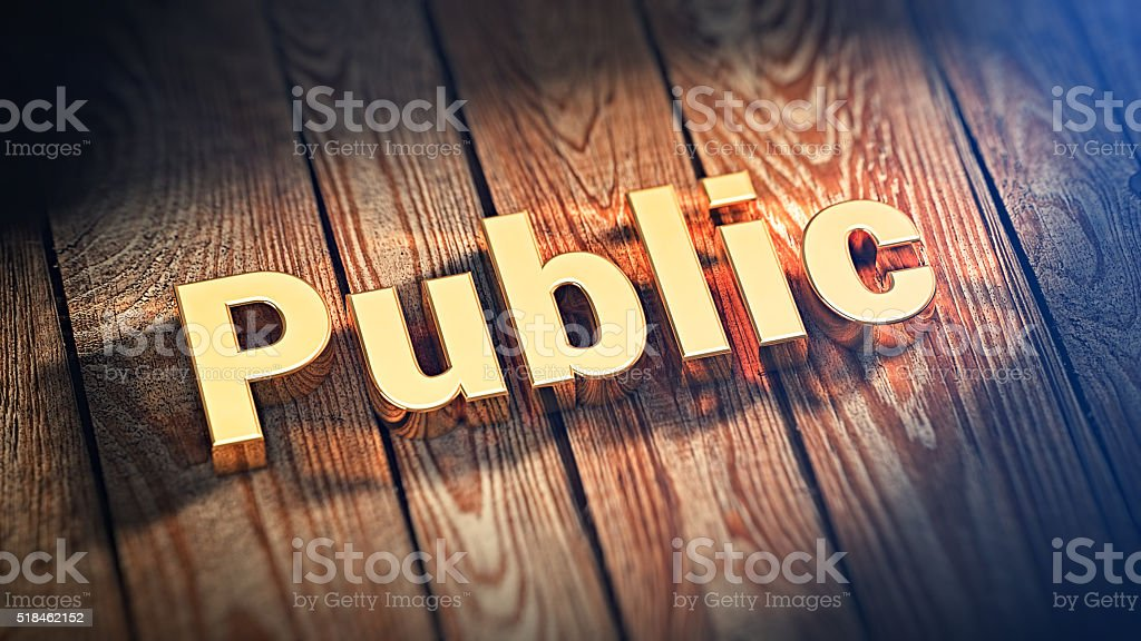Word Public on wood planks stock photo