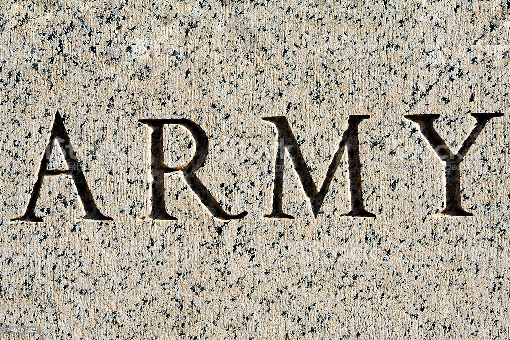 """Word """"Army"""" Carved in Gray Granite royalty-free stock photo"""