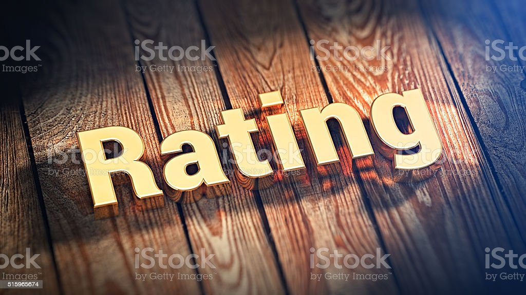 Word Rating on wood planks stock photo