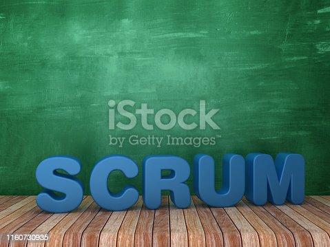 istock 3D Word SCRUM on Chalkboard Background - 3D Rendering 1160730935
