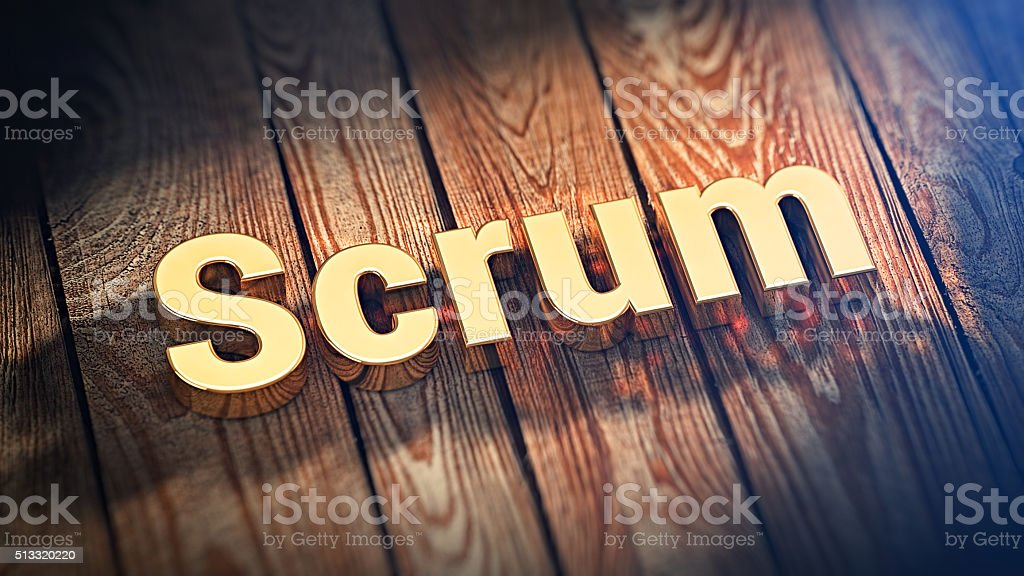 Word Scrum on wood planks stock photo