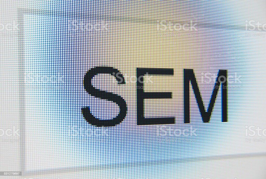 SEM word search bar close up macro search engine marketing stock photo