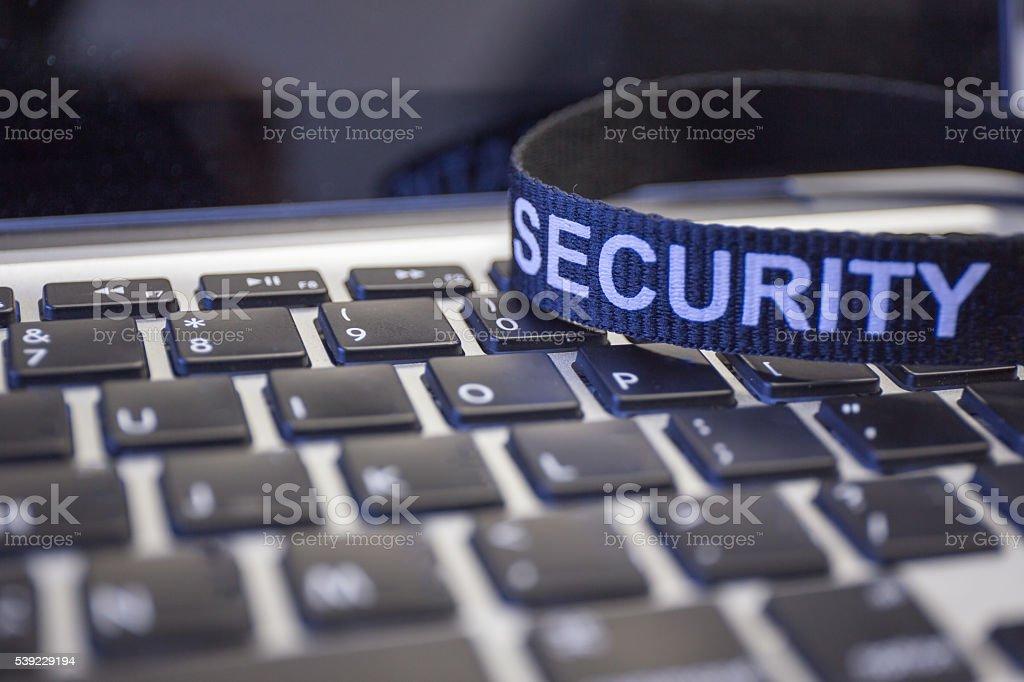 Wort Sicherheit auf labtop Tastatur Symbol Cyber-Kriminalität – Foto