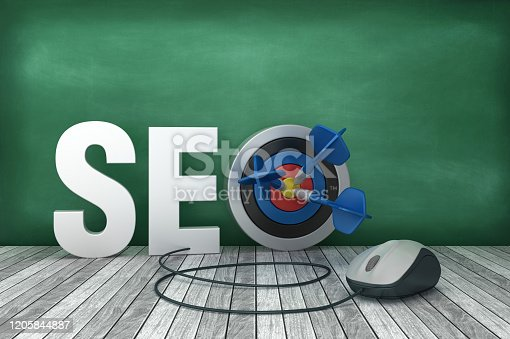 1172996896 istock photo 3D Word SEO with Target and Computer Mouse on Chalkboard Background - 3D Rendering 1205844887