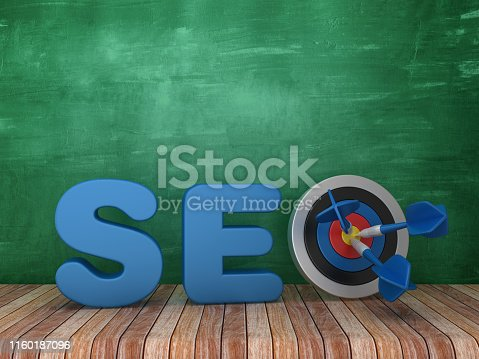 1172996896 istock photo 3D Word SEO with Target on Chalkboard Background - 3D Rendering 1160187096