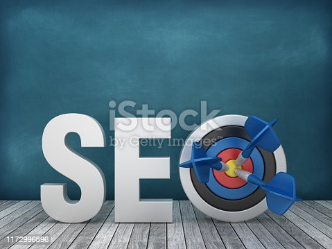 istock 3D Word SEO with Target on Chalkboard Background - 3D Rendering 1172996896