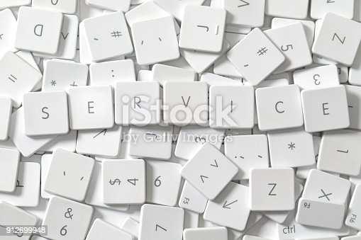 istock Word SERVICE as keyboard letters lying on a sea of old keyboard letters 912699948