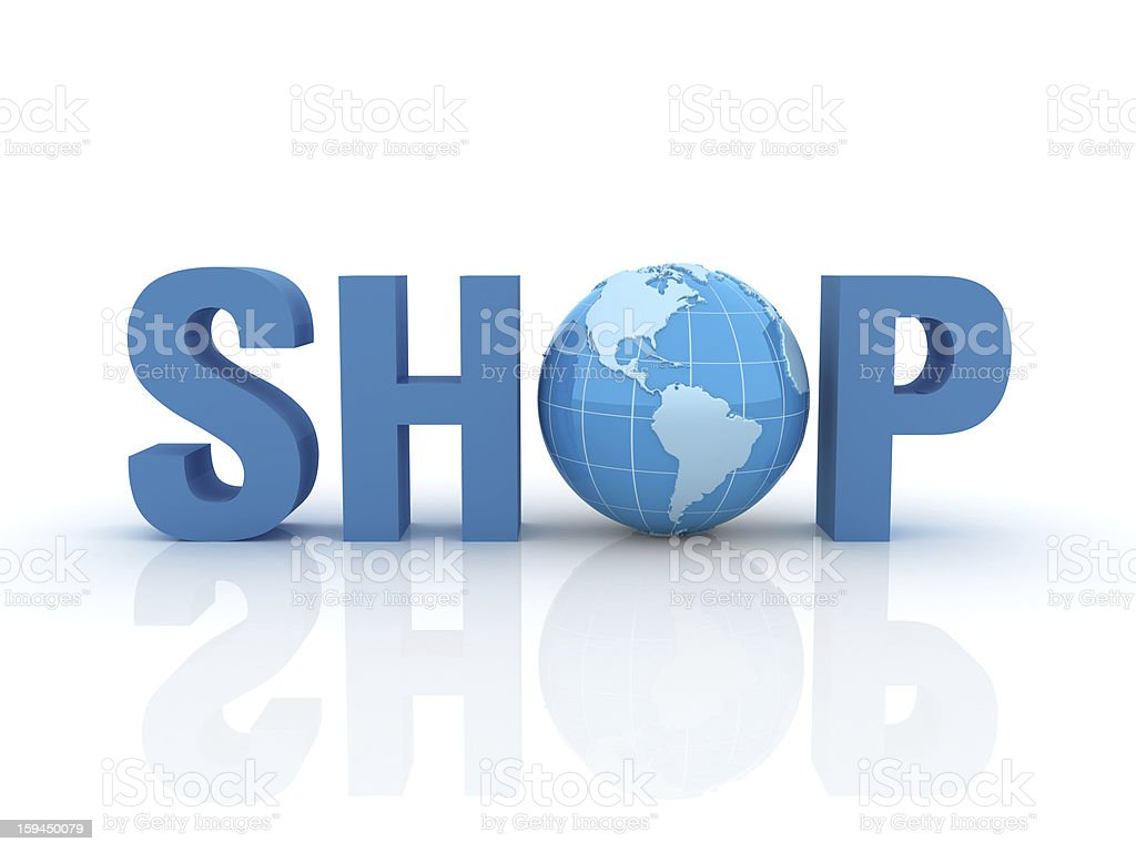 3D Word Shop with Earth Globe royalty-free stock photo