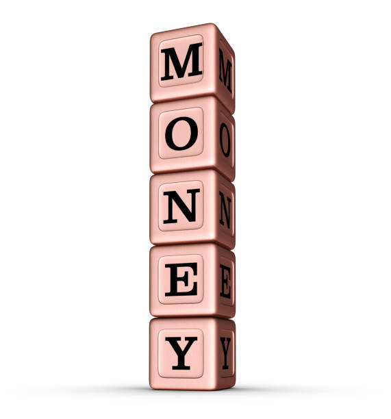 MONEY word sign. Vertical Stack of Rose Gold Toy Blocks. stock photo