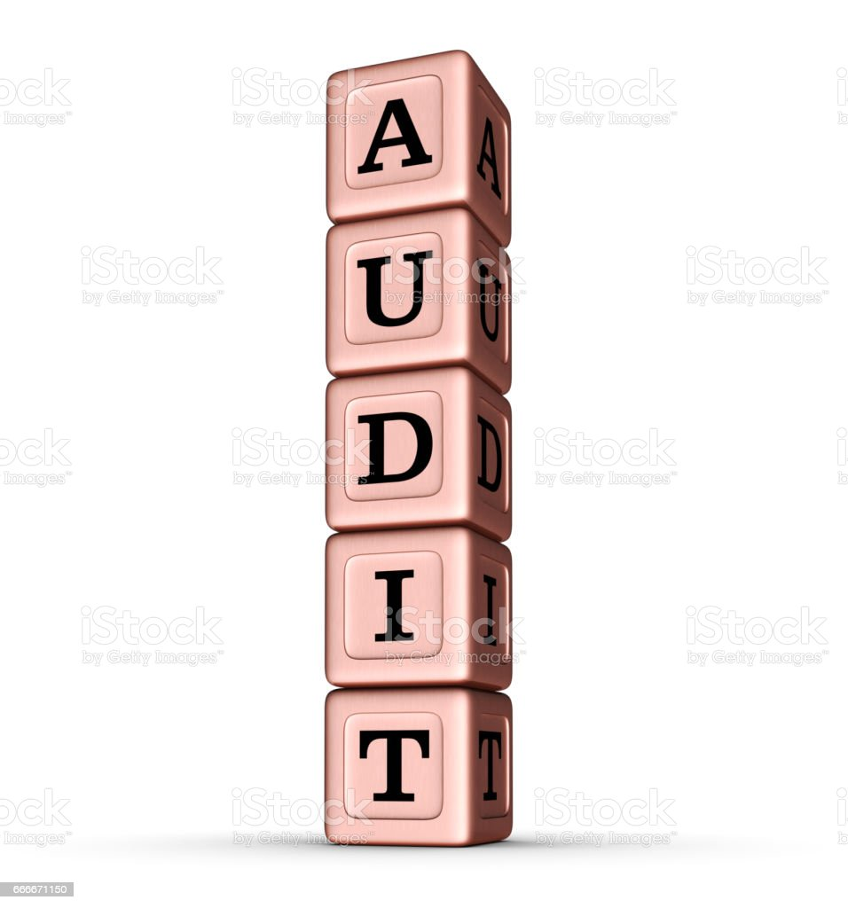 AUDIT word sign. Vertical Stack of Rose Gold Toy Blocks. stock photo