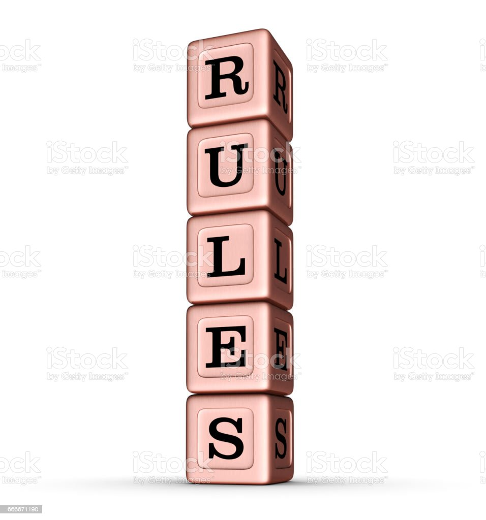 RULES word sign. Vertical Stack of Rose Gold Toy Blocks. stock photo