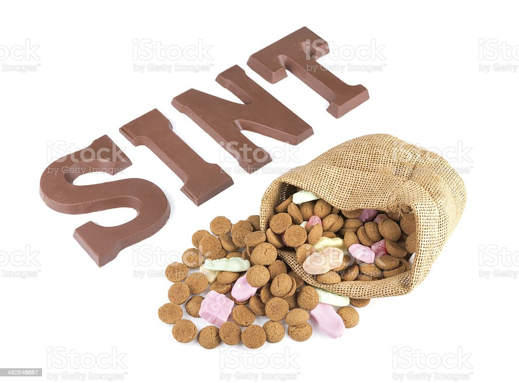 Word SINT,  bag of ginger nuts and sweets stock photo