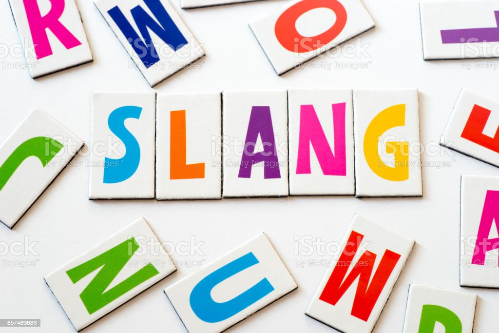 word slang  made of colorful letters stock photo
