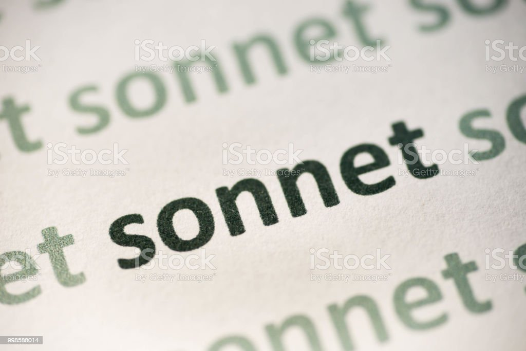 word sonnet  printed on paper macro