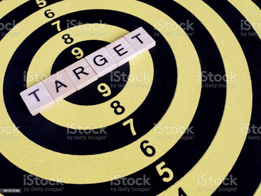 Word spell Target on dart board 1 stock photo
