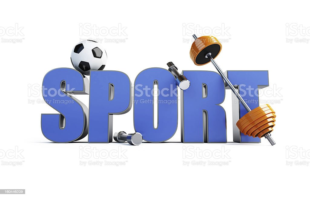 word sports  (barbell, bob, soccer ball) royalty-free stock photo