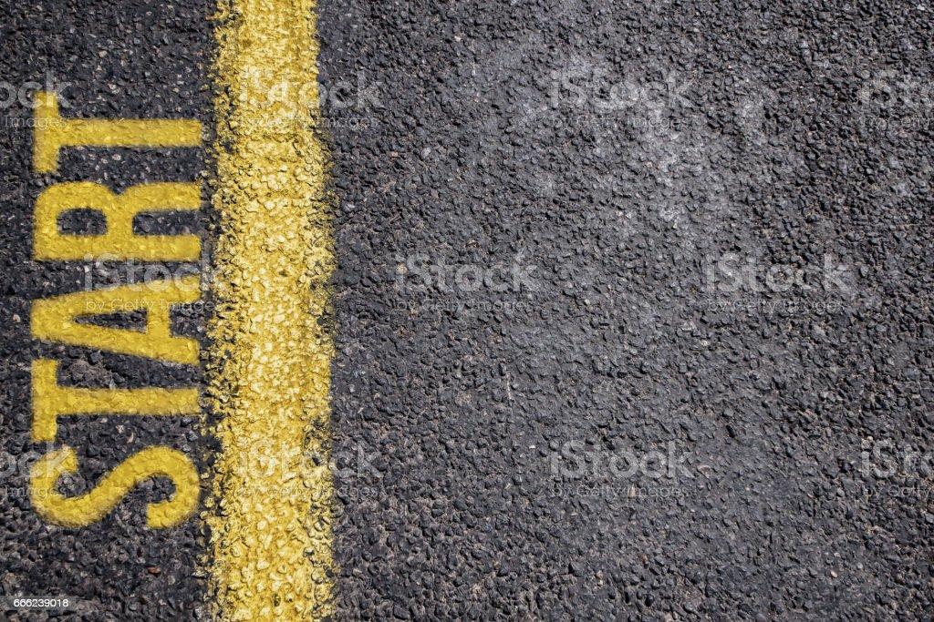 Word Start written on an asphalt road background stock photo