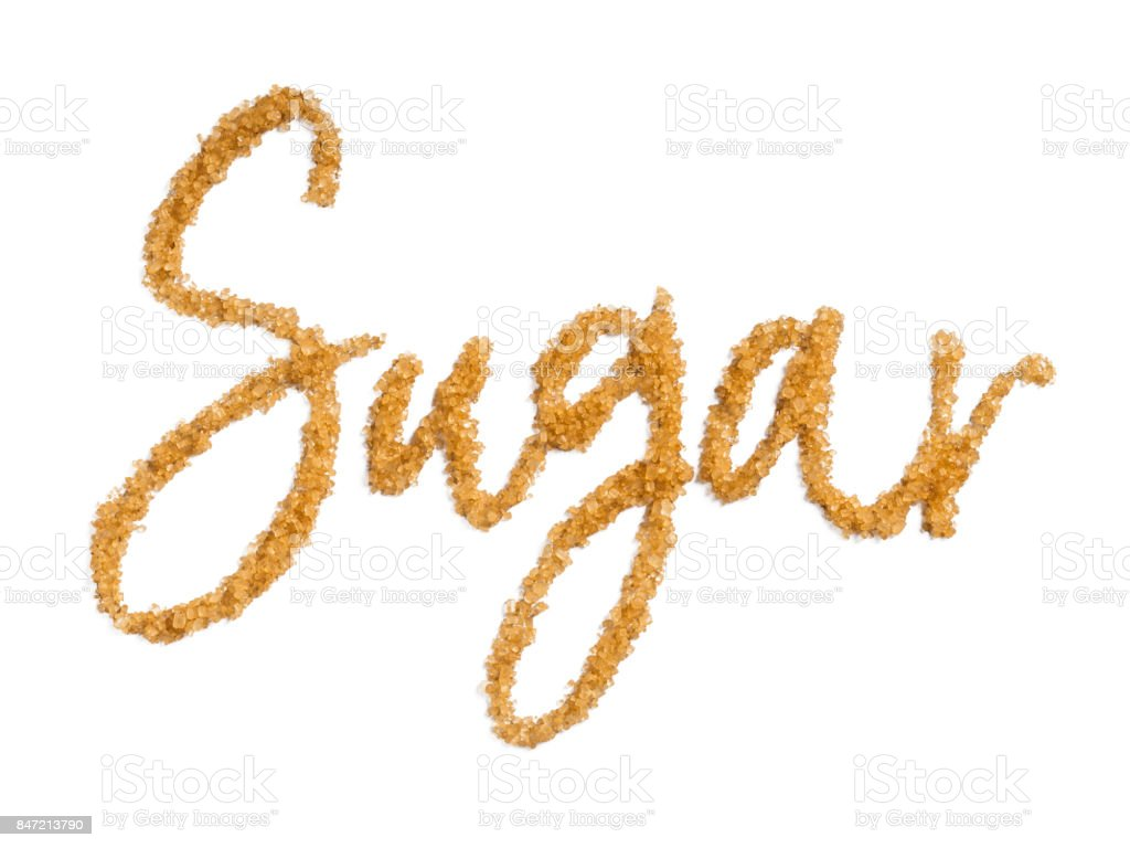 word sugar from brown sugar isolated stock photo