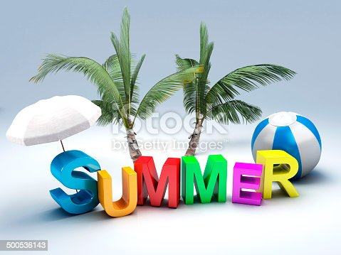 500536143istockphoto word summer with colourful letter 3D Illustration 500536143