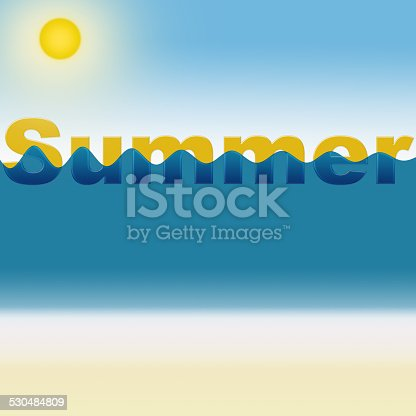 istock Word Summer with sea and shore background 530484809