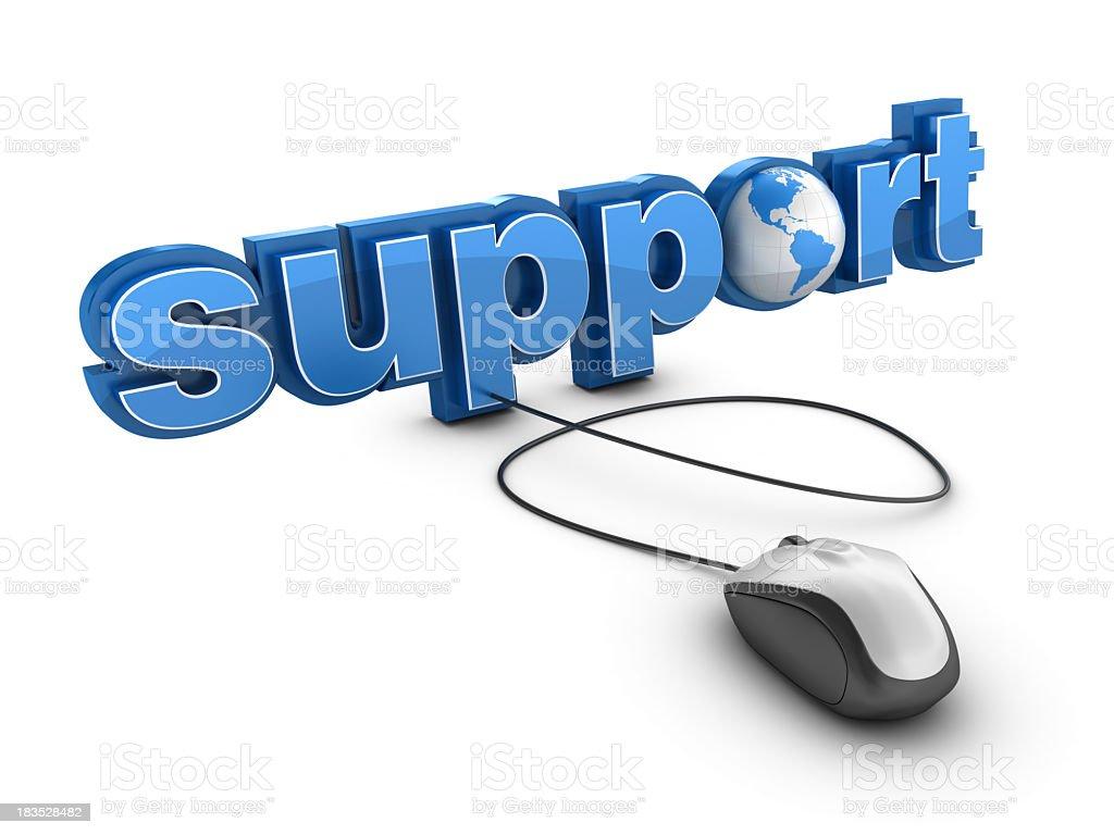 3 D Wort-Support mit Erde Globus und Computer-Maus Lizenzfreies stock-foto