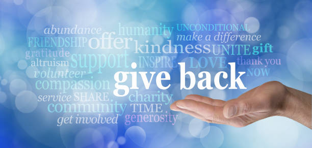 give back word tag cloud - volunteer stock photos and pictures