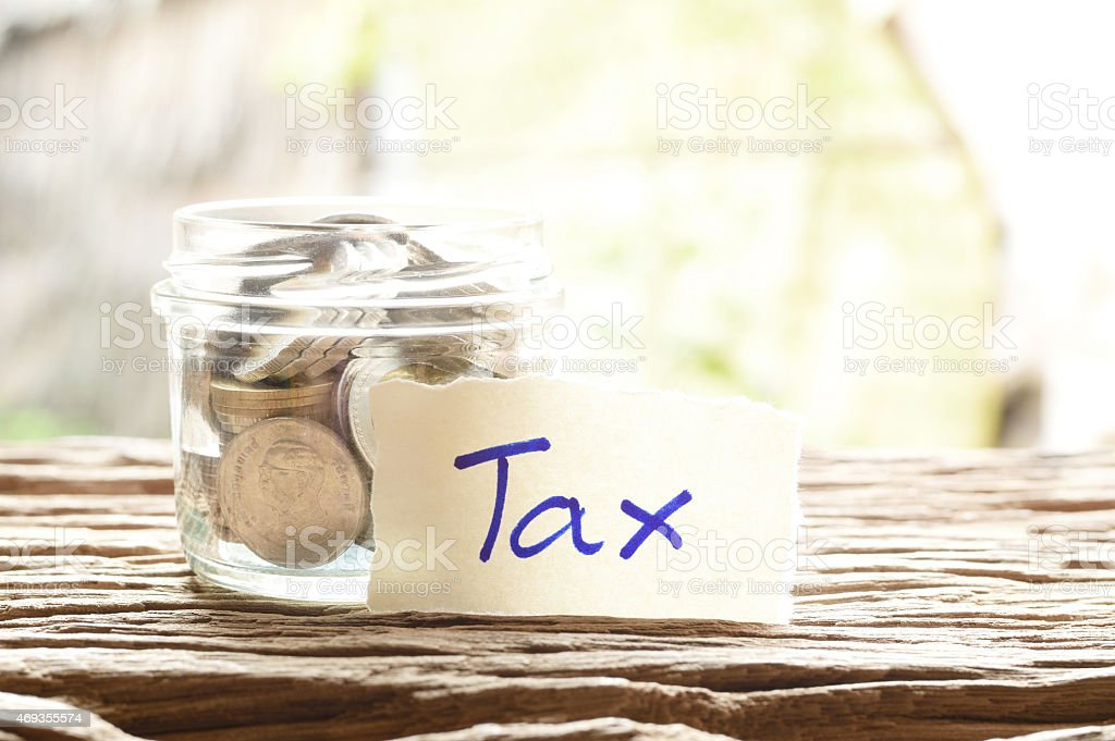 word tax with money stock photo