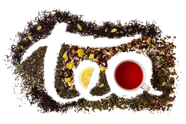 word tea made from different variety of tea. isolate on white - tea leaf stock photos and pictures