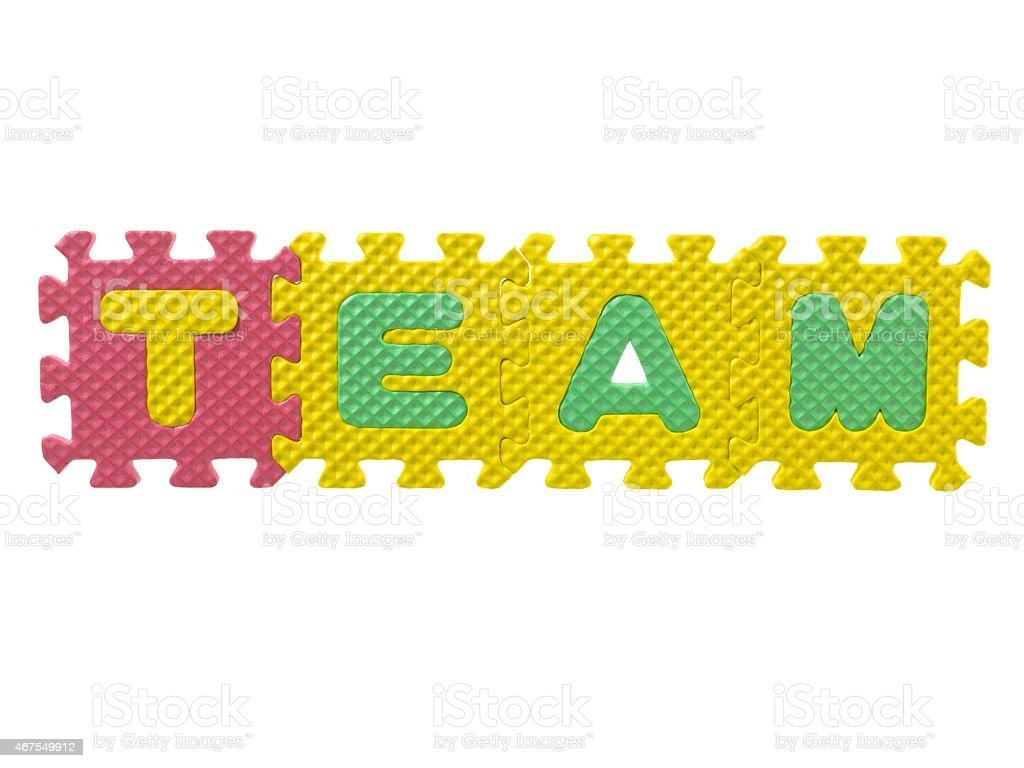 word team  formed from letter puzzle stock photo
