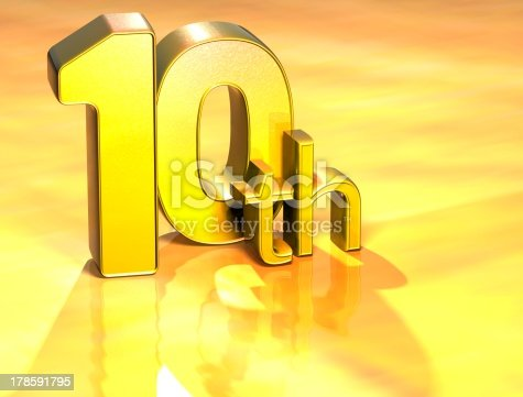 istock 3D Word Tenth on gold background 178591795