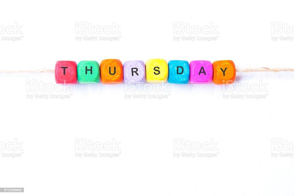word Thursday on a white background stock photo