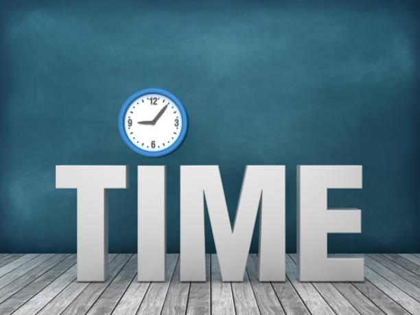 黒板の背景に時計を持つ3dワードタイム - 3dレンダリング - 出勤 ストックフォトと画像