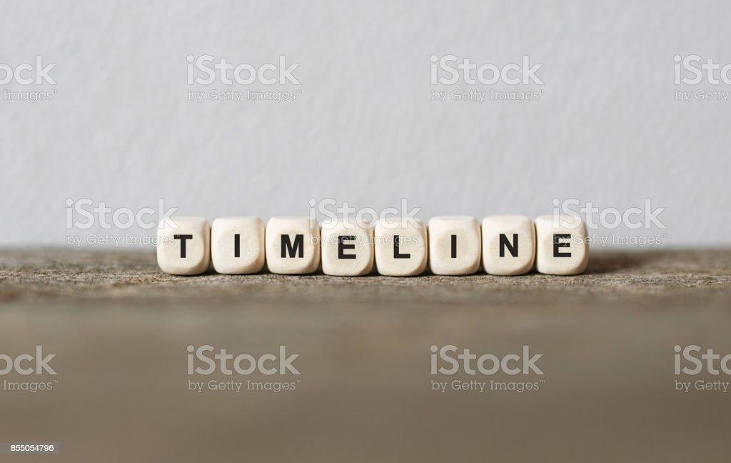 Wort-TIMELINE, die mit Holz Bausteine – Foto