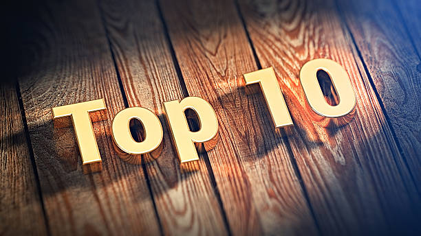 word top 10 on wood planks - number 10 stock photos and pictures