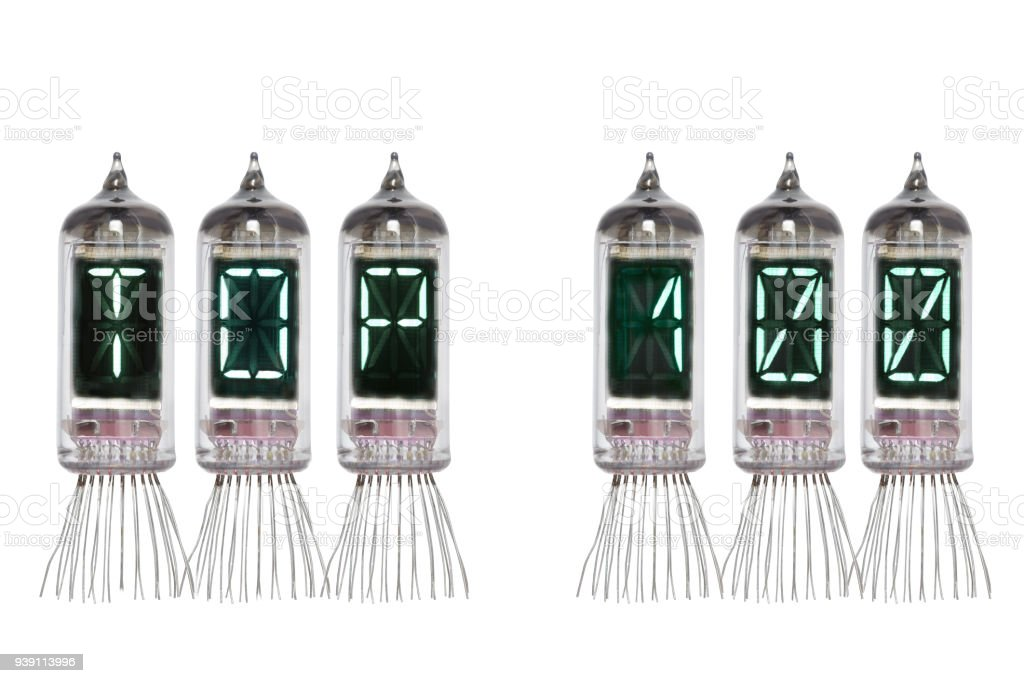 Word TOP 100 made from the real Nixie vacuum tube indicator on a white background. Isolated. Display of lamp with green backlight. stock photo