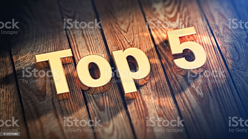 Word Top 5 on wood planks stock photo