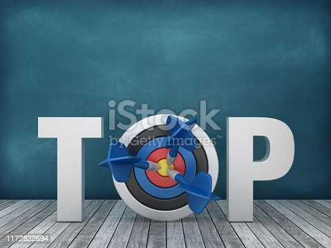 istock 3D Word TOP with Target on Chalkboard Background - 3D Rendering 1172822694