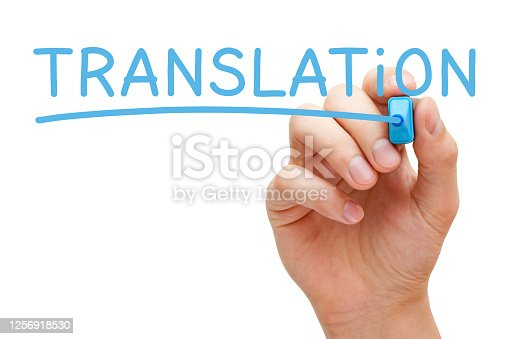 Hand writing the word Translation with blue marker on transparent wipe board isolated on white background.